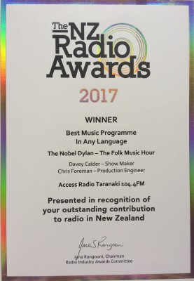 NZ Radio Award Certificate